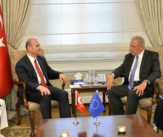 Minister of Interior Soylu Received the European Commissioner Avramopoulos and His Accompanying Delegation